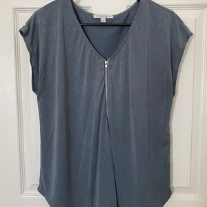 Blue zip up blouse